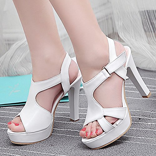 Charm Foot Womens Fashion Open Toe Hook and Loop High Heel Sandals White d0rIdU