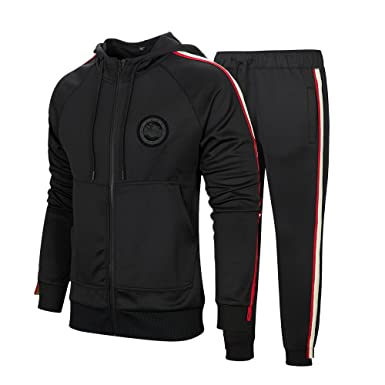 f5ade97e05d2 MANTORS Men s Hooded Athletic Tracksuit Full Zip Casual Jogging Gym Sweat  Suits Black S