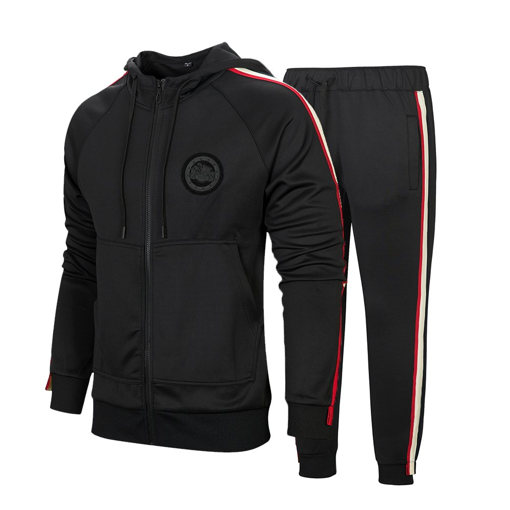 Men's Hooded Athletic Tracksuit Full Zip Casual Jogging Gym Sweat Suits Black L