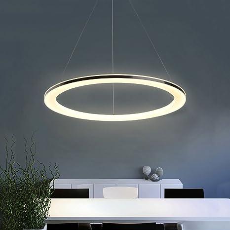 Lámpara Colgante de Techo,LED Araña Iluminación Luz Interior Pendiente 12W 20CM Brillo y Altura Ajustable Forma de Anillo Material de Acrílico y Metal ...
