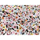 45 wide Polycotton Print Dress Fabric White Liquorice Allsorts - per metre by Prestige Fashion UK Ltd