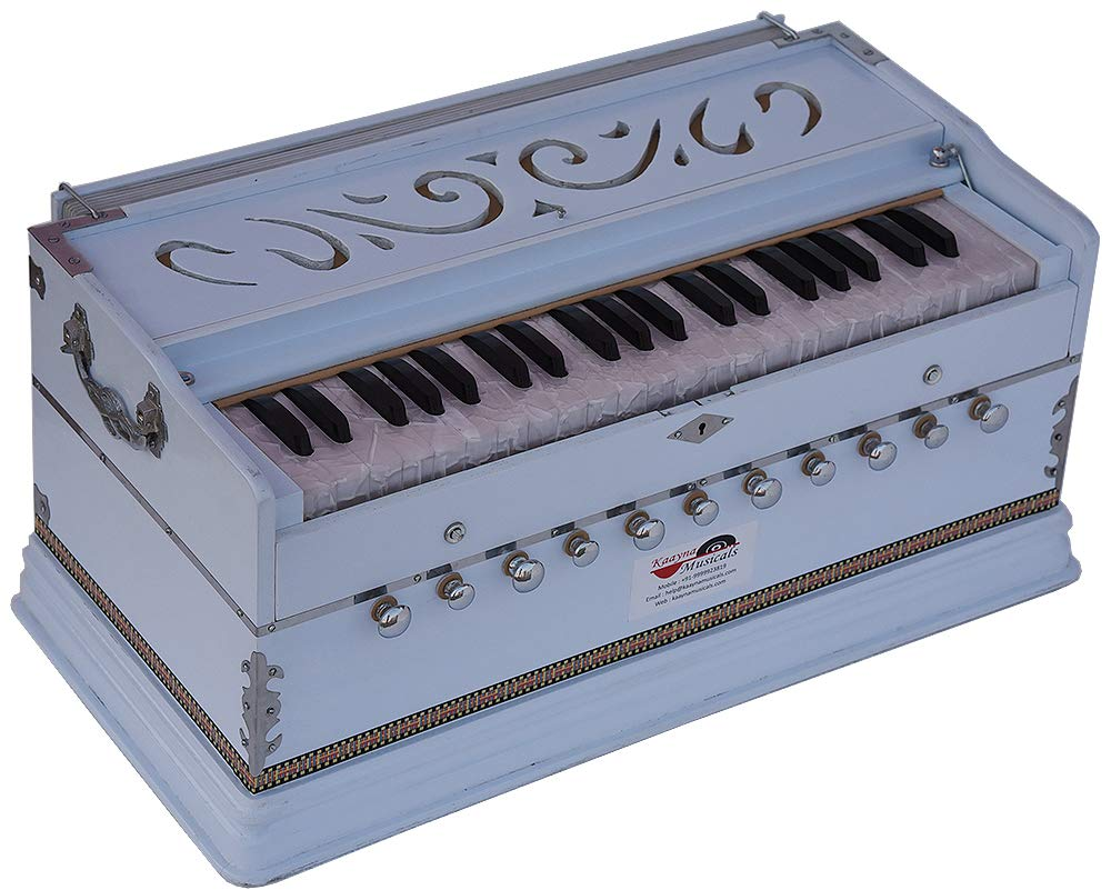 Harmonium White Pro Grade By Kaayna Musicals, 11 Stop- 6 Main & 5 Drone, 3½ Octaves, Coupler, Gig Bag, Bass/Male Reed Tuned- 440 Hz, Suitable for Peace, Yoga, Bhajan, Kirtan, Shruti, Mantra, etc by Kaayna Musicals (Image #3)