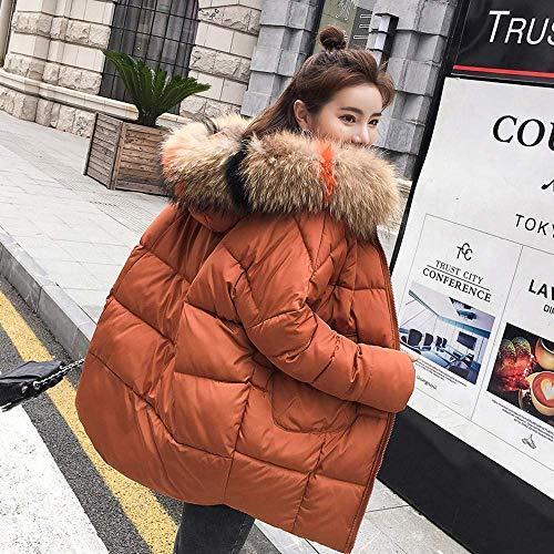 Rojo Chaqueta Con Color Mujer De Abrigo Capucha Larga Amarillo Algodón Cálido Para Prendas Gruesa Informal Tamaño Manga Parka Invierno L rHZrwP