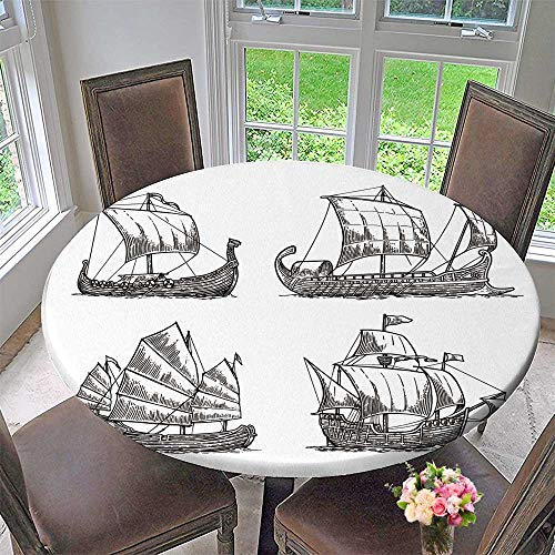 PINAFORE HOME Round Premium Tablecloth Trireme, Caravel, drakkar, Junk  Set  sail Ships Float sea Waves Stain Resistant 59