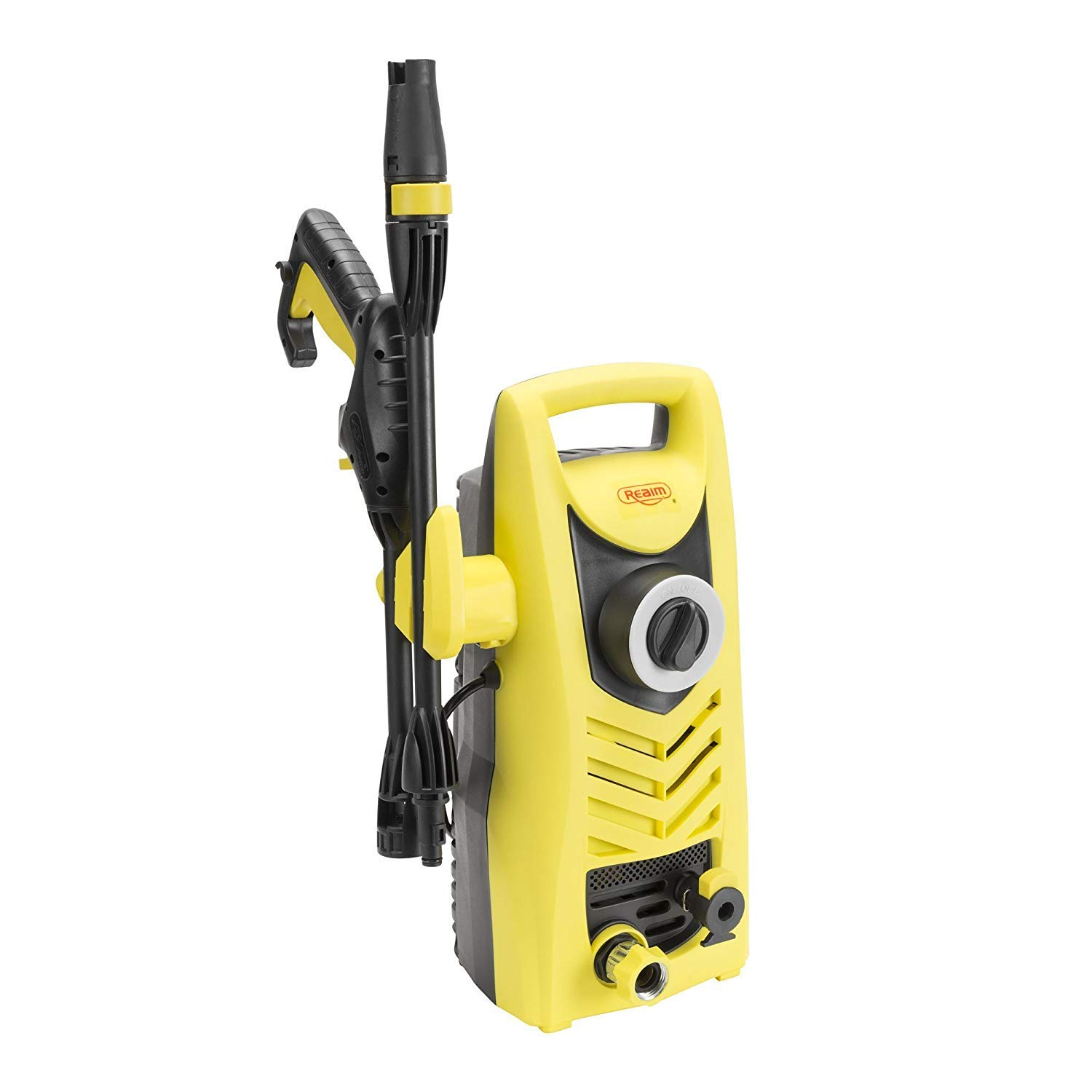Realm 1600 PSI, 1.6 GPM, 13 Amp Electric Pressure Washer with Spray Gun,Adjustable Nozzle,Foam Cannon, Yellow Black