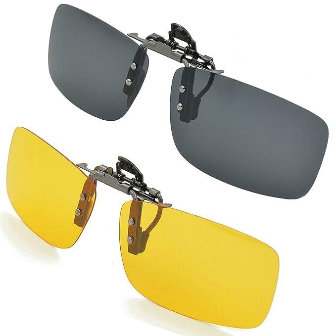 Gafas de sol con clip, unisex, polarizadas, sin montura, lentes rectangulares, con clip de apertura hacia arriba se pueden enganchar en las gafas ...