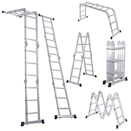 EQUAL Foldable And Adjustable Multipurpose Aluminium Super Ladder For Home And Industrial purpose (11.5 ft, 12 Steps)