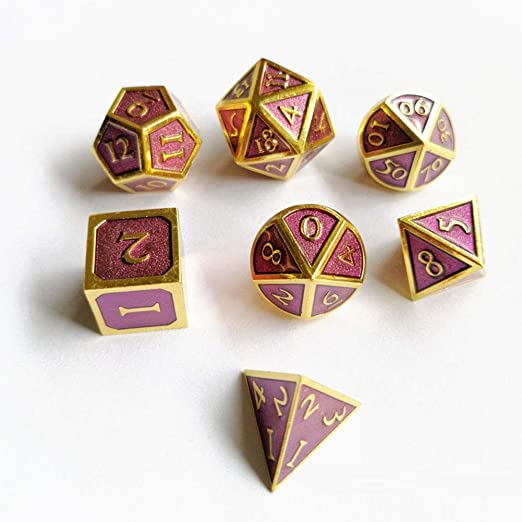 Metal Polyhedral Dungeons and Dragons Dice Sets with Dice Bag for RPG Gaming Including D20 Gilded Rose, Regular Blacksmith Craft Dice DND Dice Set