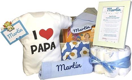 Canastilla Beb/é Regalo Personalizado Bebe MabyBox Happy Animals Azul Set regalo reci/én nacido| Cesta de bebe Para regalo