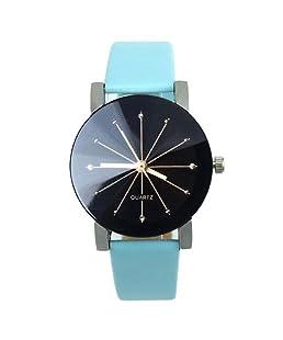 Tonsee Women's Fashion Quartz Dial Clock Leather Wrist Watch - Blue