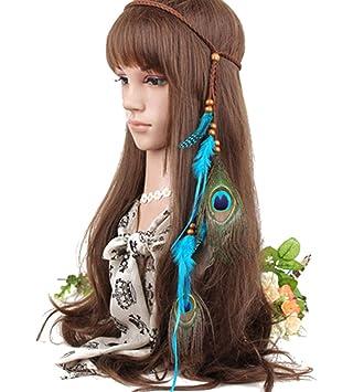 Amazon.com: Indiana - Diadema de plumas azules elegantes ...