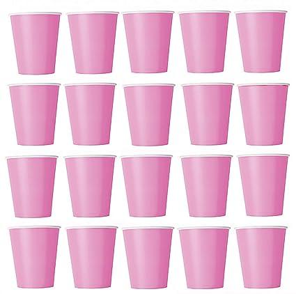 50 x Vasos rosa (Rosa) vasos desechables para bebidas frías y bebidas calientes de