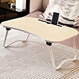 Jerry & Maggie Laptop Desk Wood Round Edge Lapdesk Game Table with Non-slip design & I pad Slot - Foldable Portable on Bed Sofa Party Computer Play Table Lazy Personal Desk (White Wood Tone)