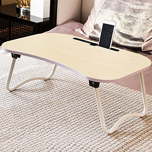 Jerry & Maggie Laptop Desk Wood Round Edge Lapdesk Game Table with Non-slip design & I pad Slot - Foldable Portable on Bed Sofa Party Computer Play Table Lazy Personal Desk (White Wood Tone) by Jerry & Maggie