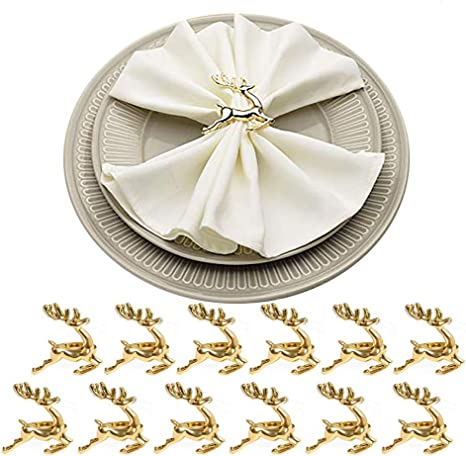 Gold//Silver Round Leaf Napkin Rings Set of 6-12 Holder for Dining Table Parties
