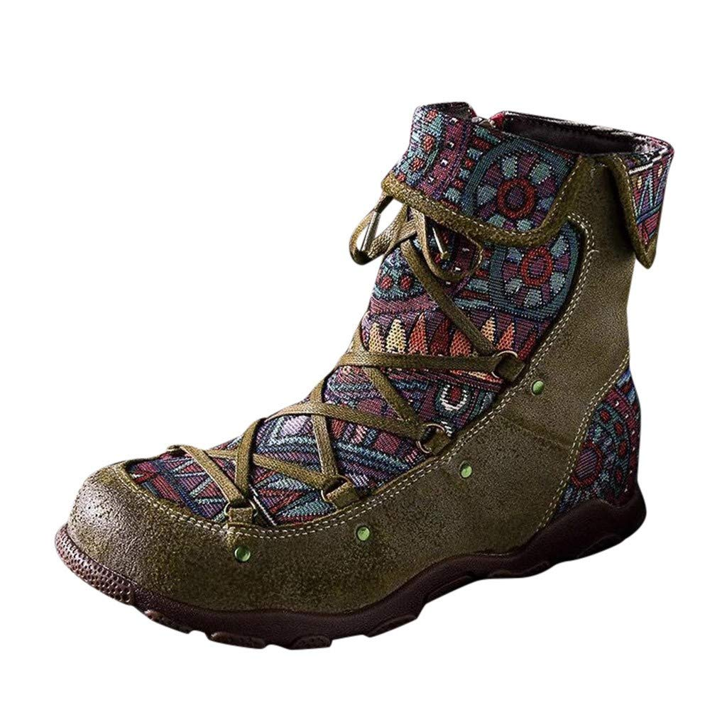 Kauneus Womens Classic Ethnic Style Short Boots Vintage Lace Up Zipper Comfy Casual Boho Ankle Boot Sport Boots Army Green by Kauneus Fashion Shoes