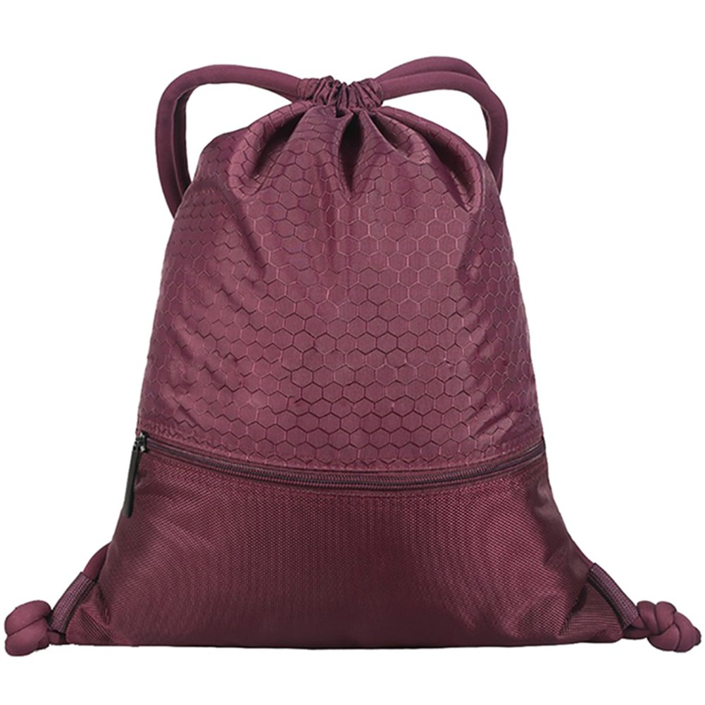 Savanaha Drawstring Backpack Waterproof Sackpack Double Sturdy Sports Backpack 2 Sizes(Claret-L)