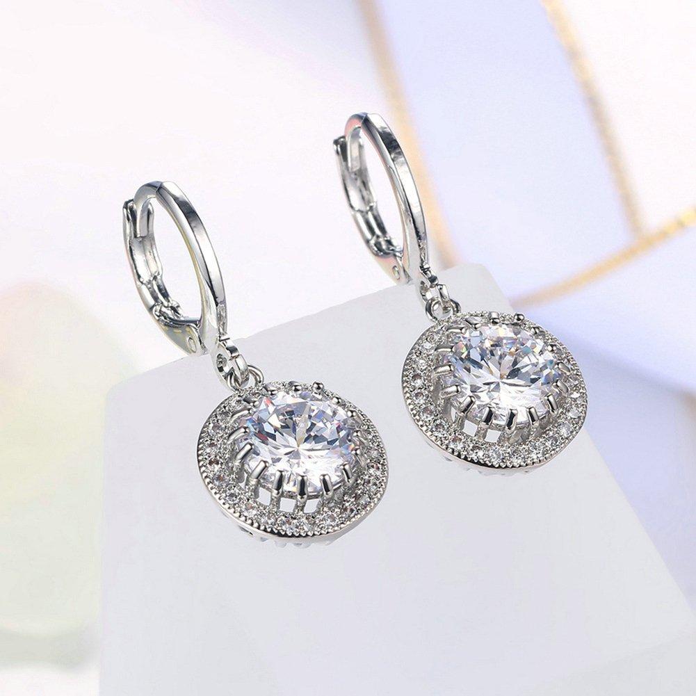 JAJAFOOK 18K White Gold Plated CZ Drop Wedding Dangle Earrings Round Cut Diamond Pierced Earring for Brides