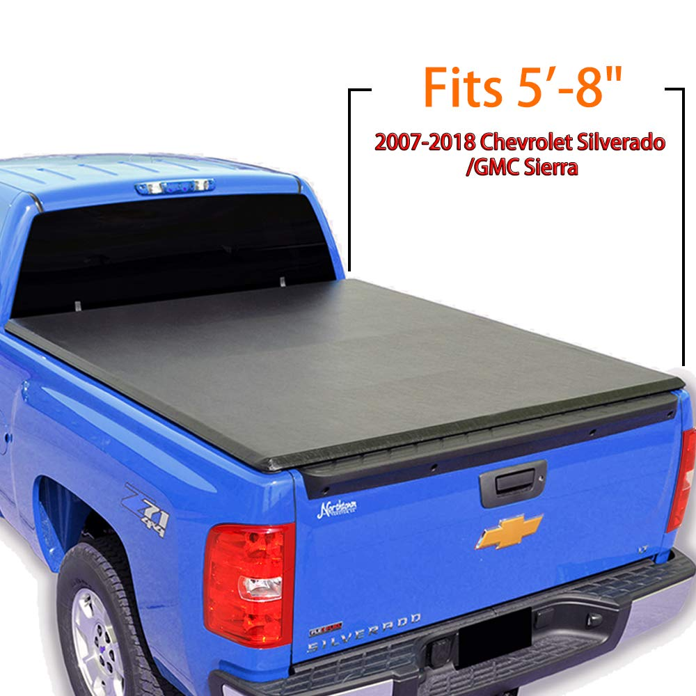 T-Former 5\'8\' Bed Roll Up Truck Bed Tonneau Cover For 2007-2018 Chevrolet Silverado/GMC Sierra