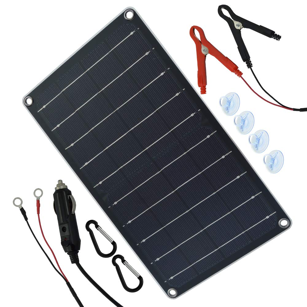 10 Watt 12 Volt Solar Panel Car Battery Charger 10W 12V Portable Solar Trickle Battery Maintainer with Cigarette Lighter Plug & Alligator Clip for Car Boat Motorcycle Tractor by TP-solar