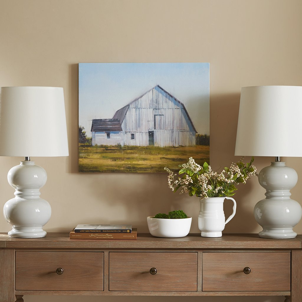 Madison Park, Old White Barn Wall Art Vintage Gel Coated Canvas, Modern Antique Design, Global Inspired Farmhouse Painting Living Room Accent Décor, Multi, 20 x 24, MP95C-0076