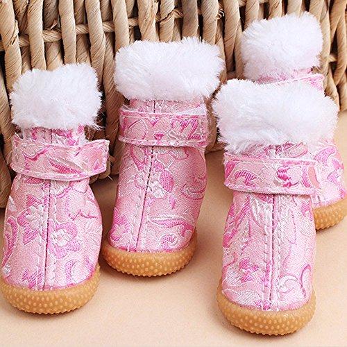 4pcs chaussures chien chaussures en peluche de coton rembourré chaussures chien 40571f