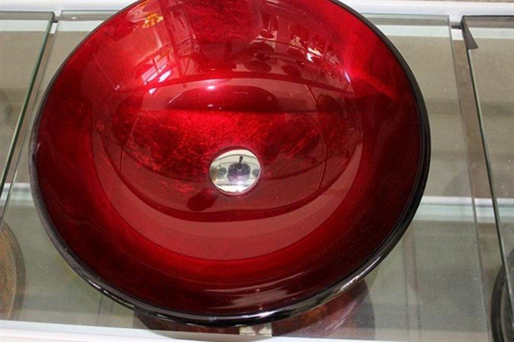 Homelava Modern Geh/ärtetes Glas Waschbecken mit Wasserfall Armatur Set Blau 8