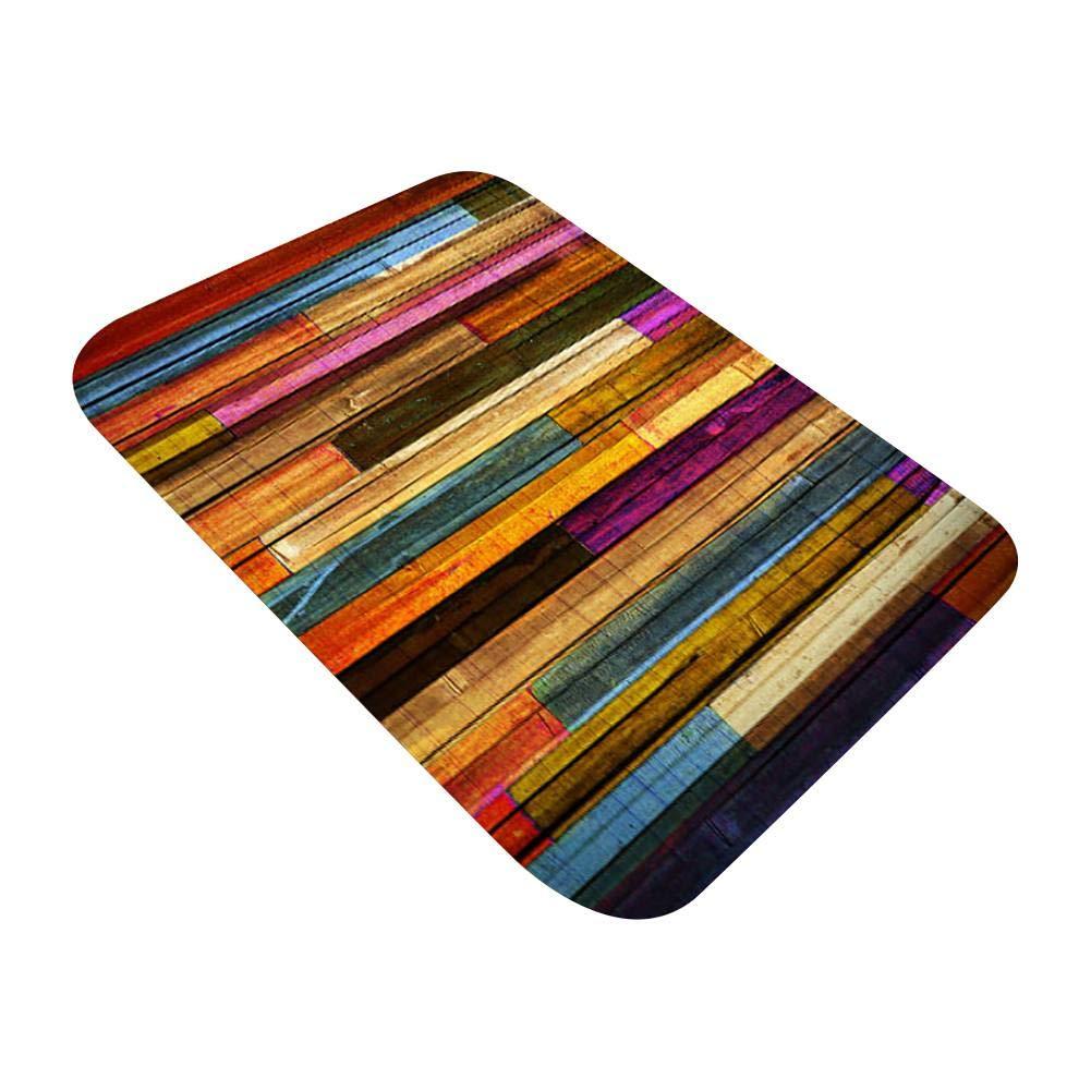 Flannel Fabric Area Rug Ocean Beach Sands Wood Board Printed Non-Slip Backing Bath Rug Home Kitchen Floor Mat Multi-Size
