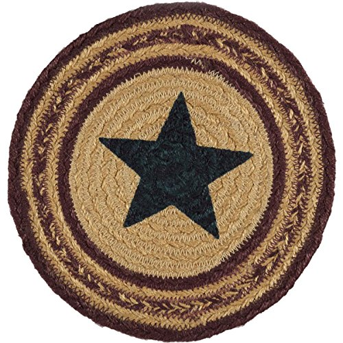 VHC Brands Americana Primitive Tabletop & Kitchen - Potomac Tan Stencil Star Jute Trivet, 8