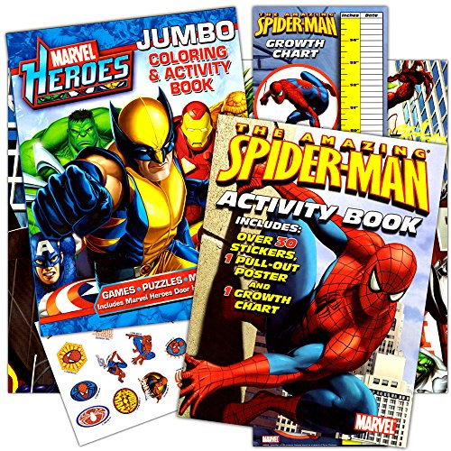 (Marvel Heroes Spiderman Coloring Book Set with 2 Books, Stickers, Growth Chart and Poster)