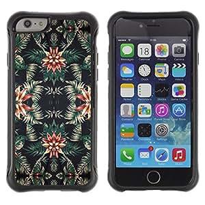 WAWU Funda Carcasa Bumper con Absorci??e Impactos y Anti-Ara??s Espalda Slim Rugged Armor -- vintage wallpaper pattern floral green dark -- Apple Iphone 6