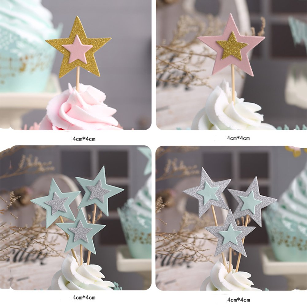 Blue Glitter Star Cupcake Toppers Twinkle Cupcake Picks Star For Party Decorations Supplies 25 Counts