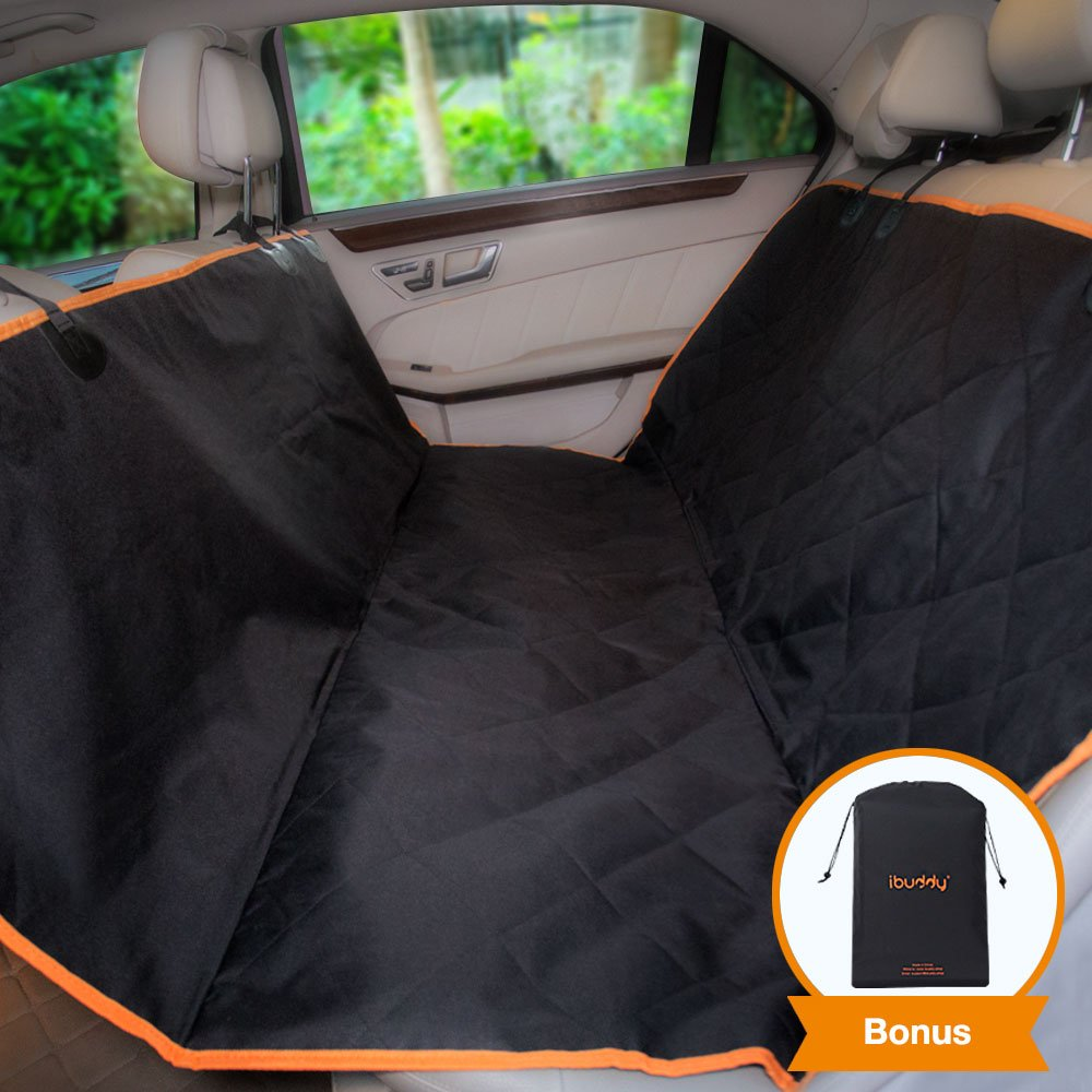 iBuddy Dog Seat Cover Hammock Back Seat Cars/SUV, Waterproof Dog Car Seat Covers Padded Cotton, Anti-Scratch, Nonslip, Washable Durable Pet Seat Cover