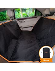 iBuddy Dog Car Seat Cover for Back Seat of Cars/Trucks/SUV, Waterproof Dog Hammock for Back Seat with Mesh Window,Side Flap and Dog Seat Belt Pet Seat Cover (Backseat)
