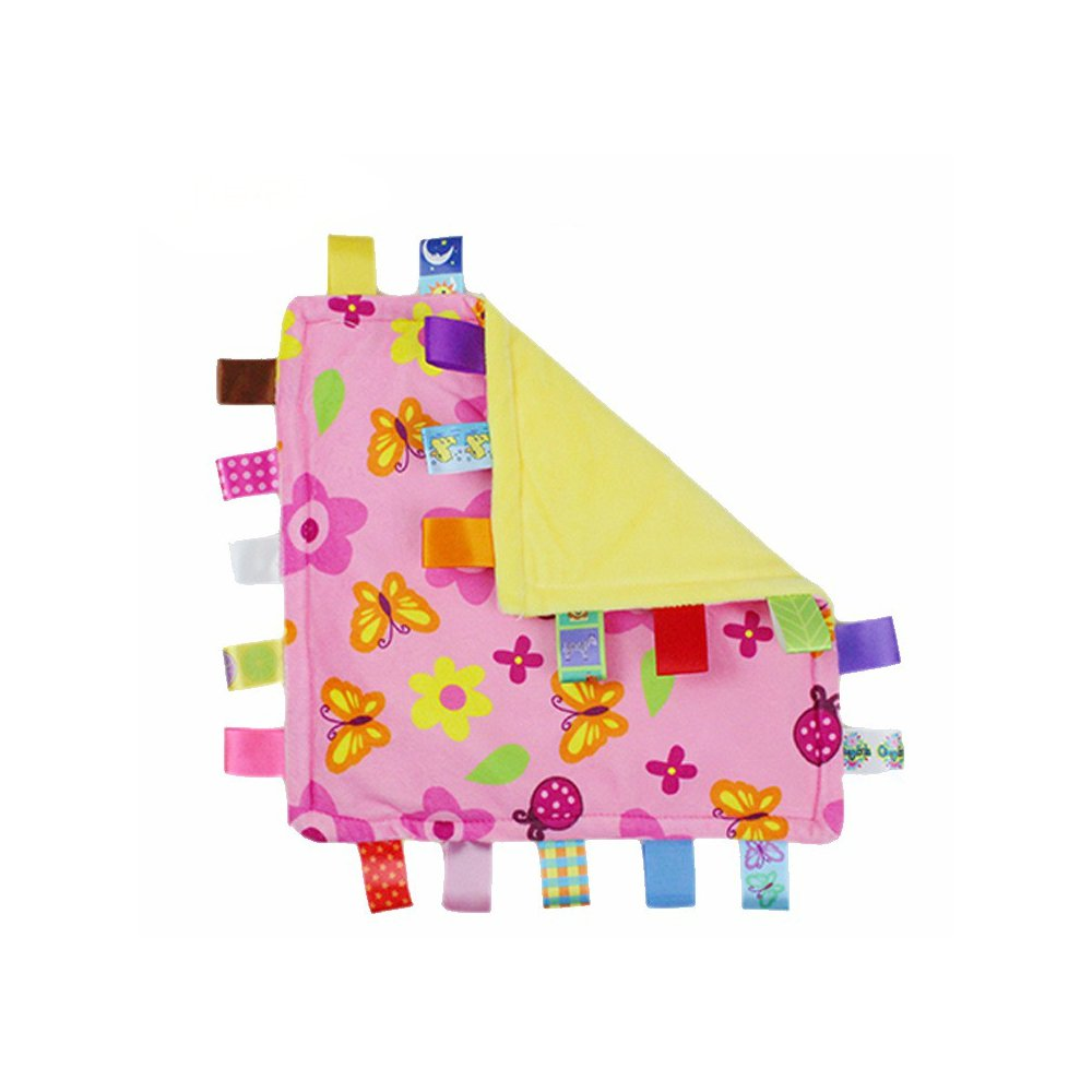 J&C Family Owned Pink Flowers Taggie Style Super Soft Lovey Baby Blanket