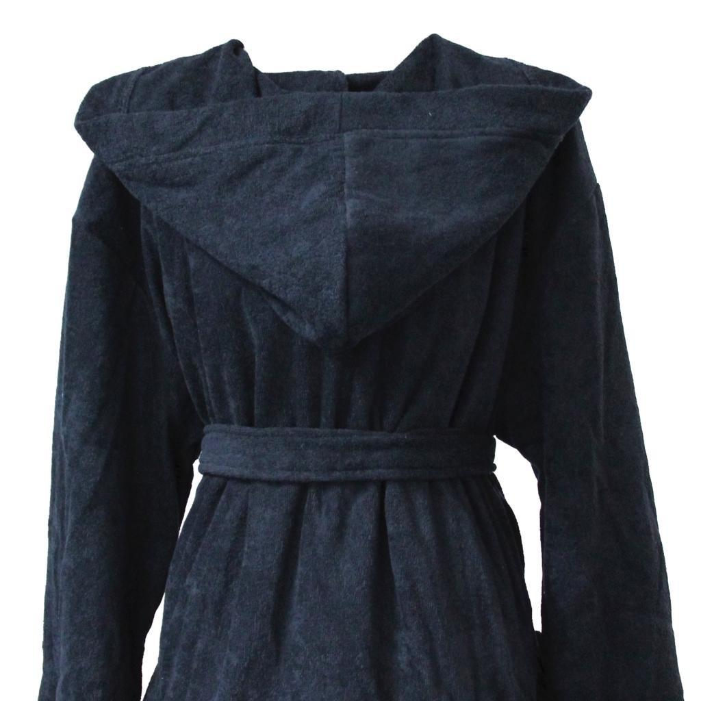 Homescapes XXL Hooded Cotton Bathrobe Royal Blue, Men\'s Hooded ...