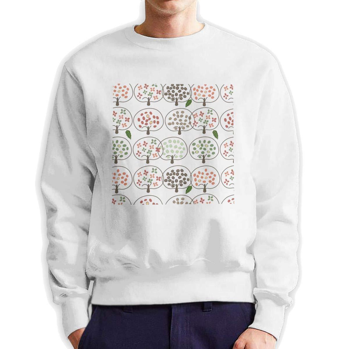 RUANJB Mens Naive Tree Long Sleeve Crewneck Sweatshirt