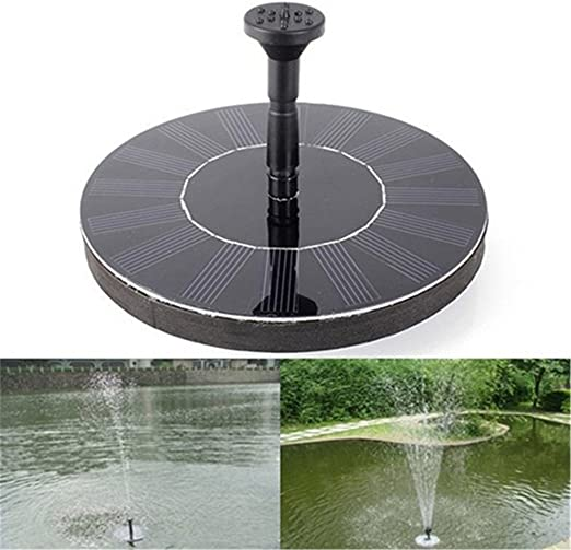 gaeruite fuente Solar bomba exterior, Bomba de agua solar de jardín circular de 1.5 W, bomba de agua solar de fuente actionnée par Bomba Solar flotante con la batería recargable 1000 mAh: