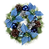 OULII Christmas Door Wreath with Pine Cones & Blue Ribbons Garland (Small Image)