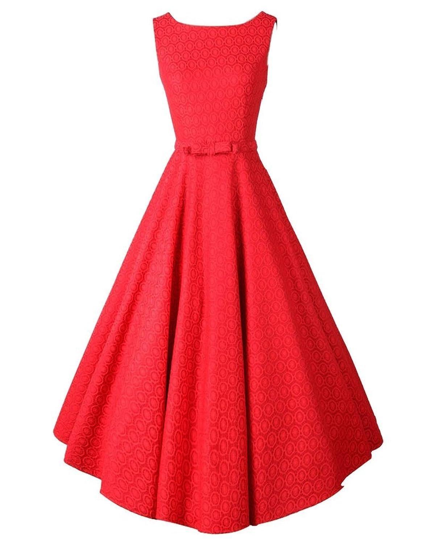 PhilaeEC Damen 1950s 60s Stil Wunderschön Ärmellos V-Rücken Kleid Robe Abendkleid