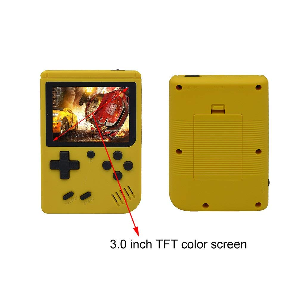 FLYFISH Handheld Game Console, Retro FC Game Console 3 Inch 168 Classic Games , Birthday Present for Children -Yellow by FLYFISH (Image #5)