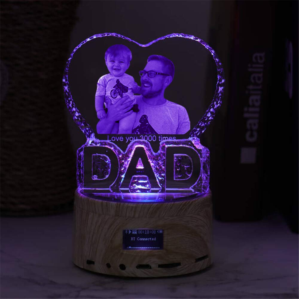 Father Day Personalise Engraved Crystal 3D Dad Colorful LED Light Music Box Bluetooth Base 6 Color Lights Gradient by prodigal (Image #2)