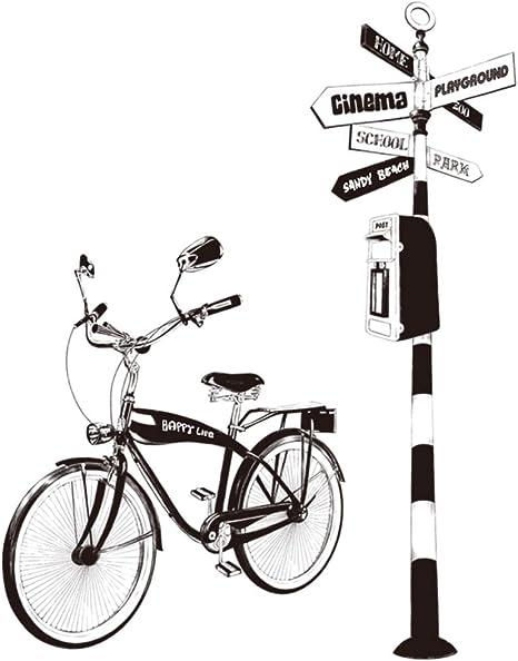 QTQHOME Dibujo a Mano Retro Bicicleta Tatuajes de Pared,Desmontaje ...