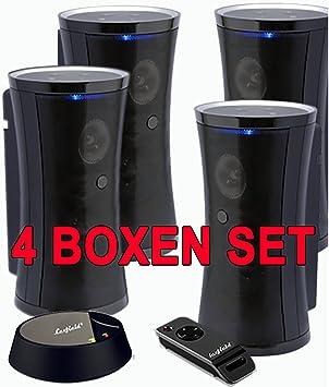 4er Set Funklautsprecher Bis Zu 100m Reichweite Funkboxen STEREO Multiroom  Aktiv Spritzwasserfest Outdoor Wireless Speaker Mp3