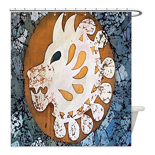 [Liguo88 Custom Waterproof Bathroom Shower Curtain Polyester Batik Decor Grungy Wolf Visage Head in a Rounded Full Moon Form Night Knight Esoteric Image Multi Decorative bathroom] (Make Moon Knight Costume)