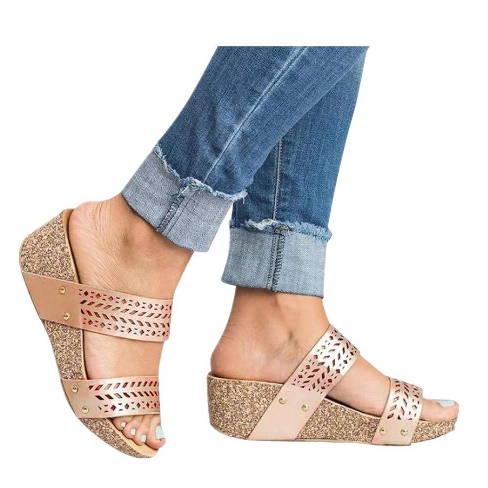 Womens Summer Sandal Wedges Boho Flip Flops Platform Rivet Beach Shoes Thick Bottom Slippers (Glod -2, US:6.5)