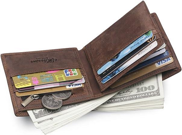 MS Cartera de Hombre de Piel Monedas Monedero Titular DNI Tarjeta de Credito (Marrón): Amazon.es: Equipaje