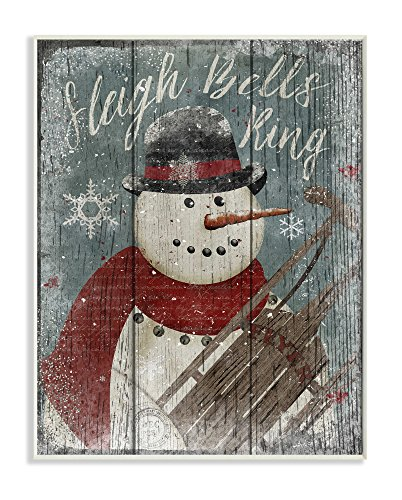 (Stupell Home Décor Sleigh Bells Ring Snowman Wall Plaque Art, 10 x 0.5 x 15, Proudly Made in USA)