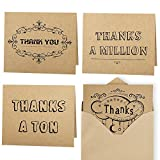 Kuuqa 20 Pieces Thank You Notes Cards with 20 Envelopes and 20 Writable Glue Dots (4 Designs)