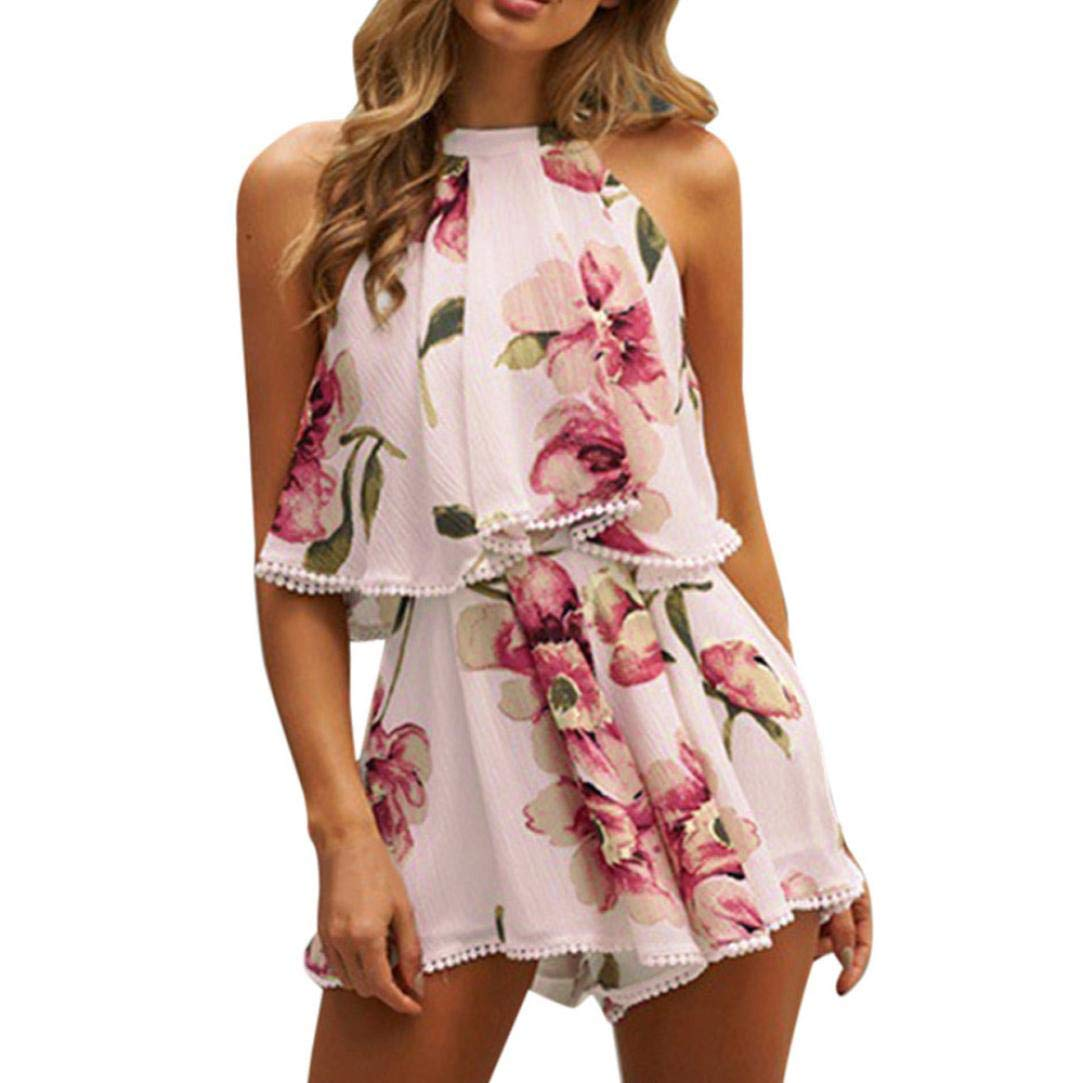 Rambling Women's Floral Printed Summer Dress Romper Boho Playsuit Jumpsuits Beach 2 Piece Outfits Top Shorts